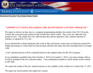 Diversity Visa Lottery Results Cancelled